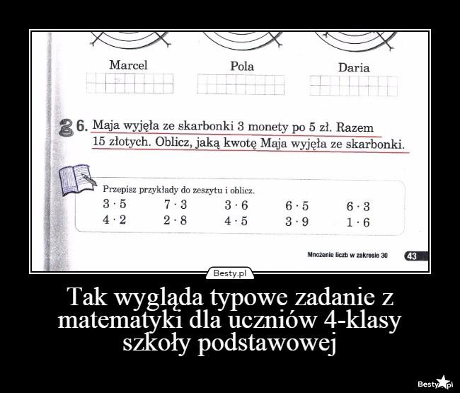 testy matematyczne dla klasy 4 szkoły podstawowej