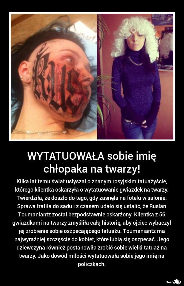 Bestypl Tatuaż Z Imieniem Ukochanego Na Twarzy
