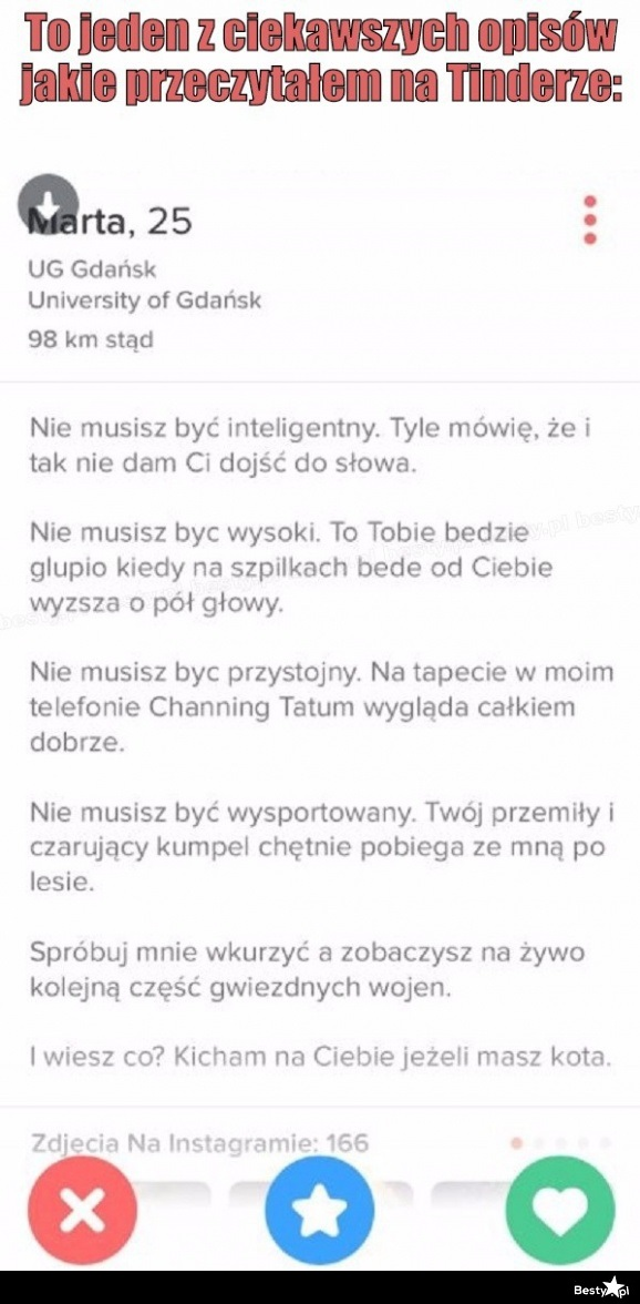 596921390f75f BESTY.pl - Opis na tinderze