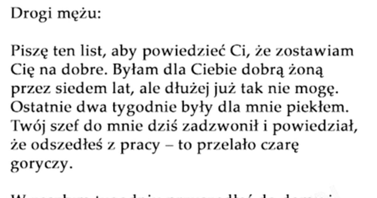 Besty Pl Napisala List Pozegnalny Do Meza Odpowiedz Meza Rozwalila Xd