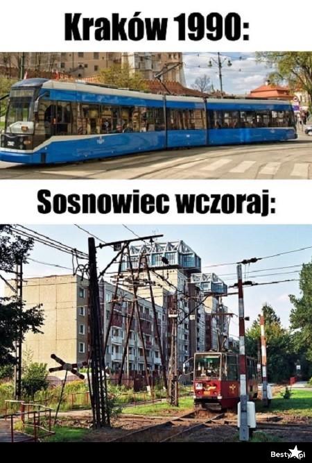 Kraków w 1990 roku vs. Sosnowiec wczoraj :D