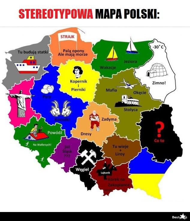 Besty Pl Stereotypowa Mapa Polski