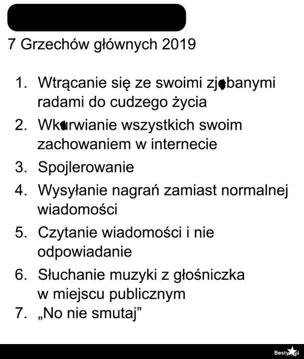 Siedem grzechów głównych w 2019 roku