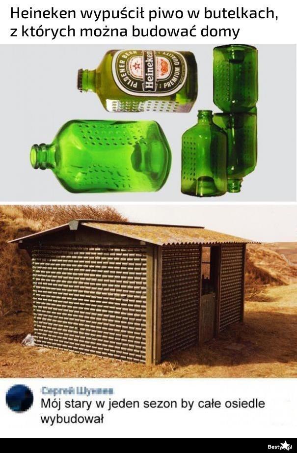 Piwo w butelkach, z których można budować domy